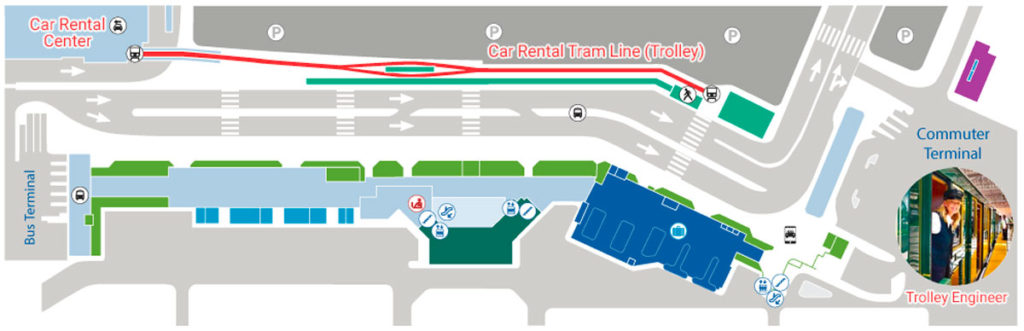 Maui airport car rental center trolley map