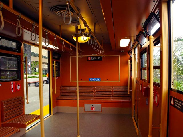 Interior of the Maui trolley