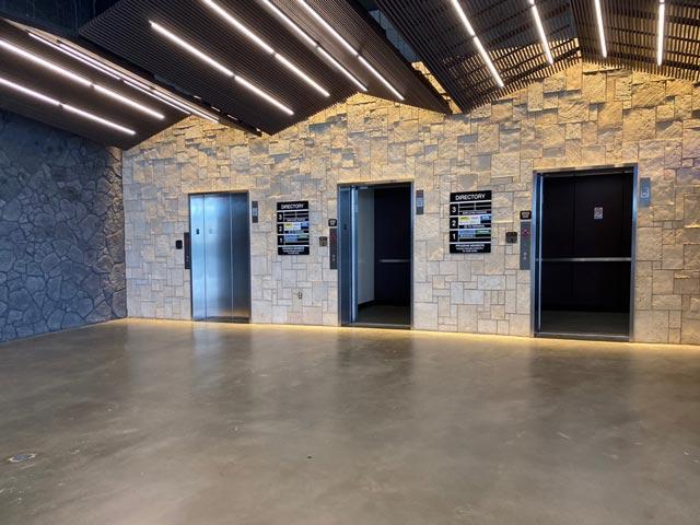 Elevators at the Maui airport car rental facility