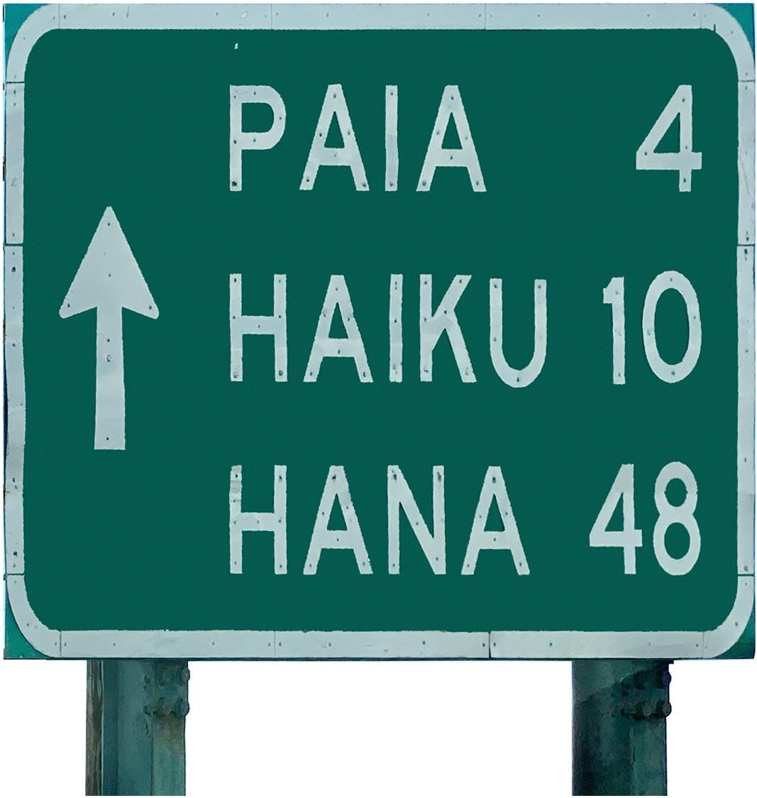 Road to Hana sign