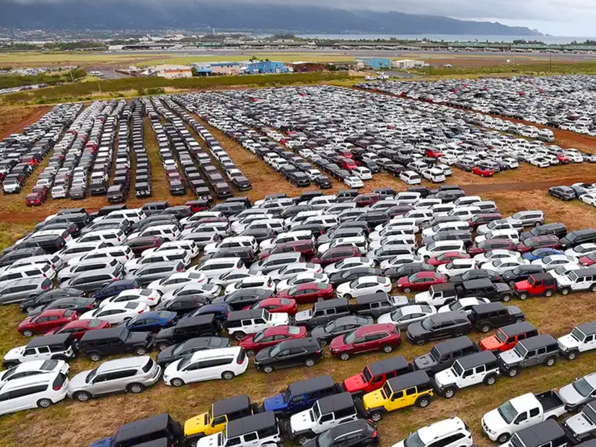 Rental cars parked at the Maui airport