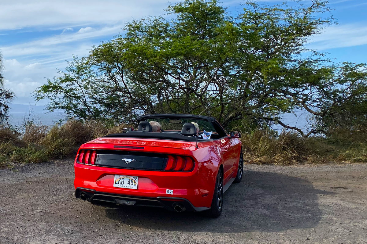 Convertible car rental parked on Maui Island