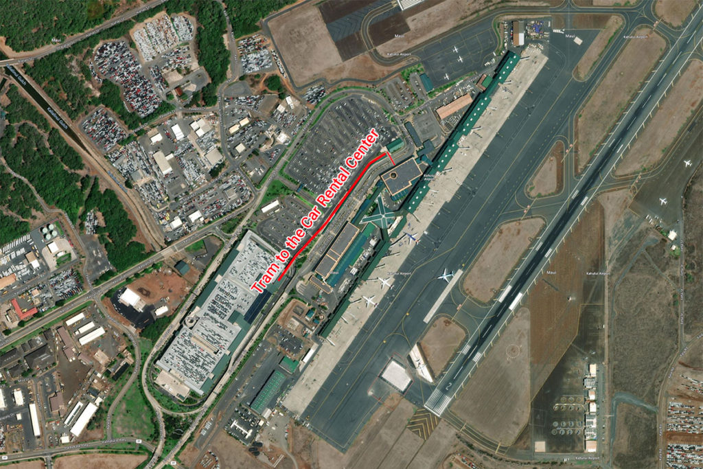 Aerial map of tram to the car rental center at the Maui airport