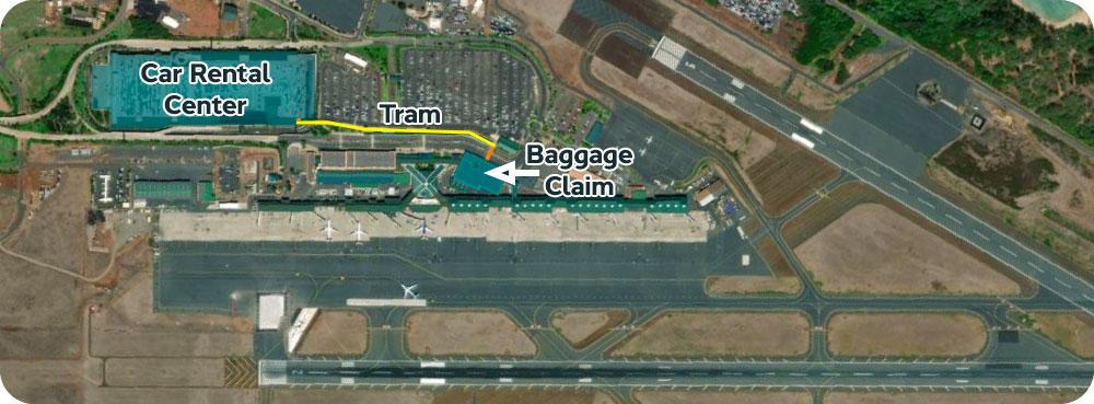 OGG Maui airport Kahului car rental tram map